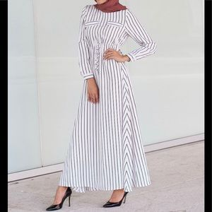 Verona Collection Striped tie- waist maxi dress